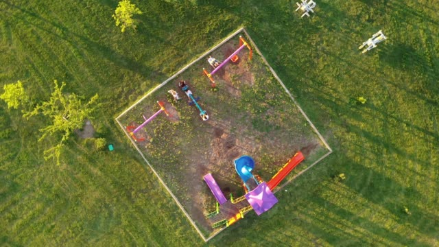 aerial view of playground - group of objects stock videos & royalty-free footage