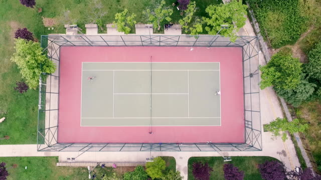 aerial view of playing field - tennis ball stock videos & royalty-free footage