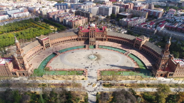 aerial view of plaza de espana seville - zoom out stock videos & royalty-free footage