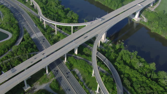 aerial view of pocahontas parkway over james river in bensley, virginia, united states of america. - american interstate stock videos & royalty-free footage