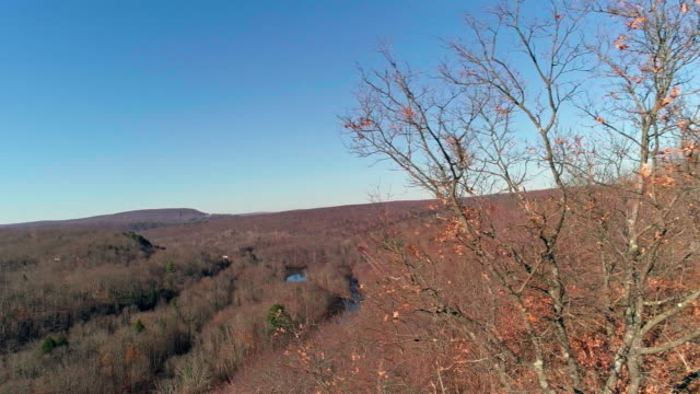 aerial view of pocono mountains, appalachian, in late fall sunny day - appalachia stock videos & royalty-free footage