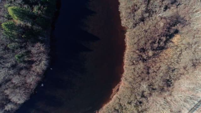 Aerial view of Pocono Mountains, Appalachian, in late fall sunny day