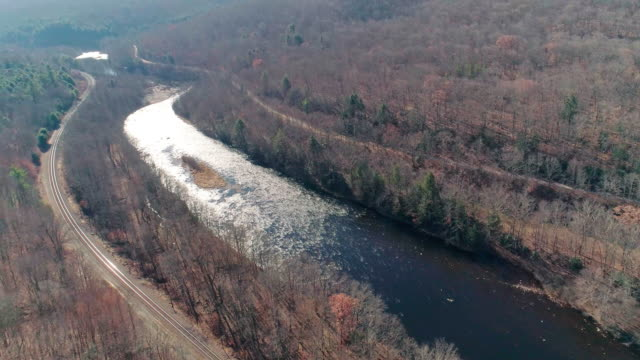 Aerial view of Pocono Mountains, Appalachian, in late fall sunny day. The Hickory River