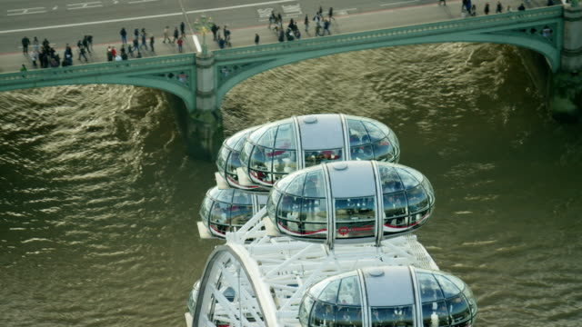 aerial view of pods on the london eye - millennium wheel stock videos & royalty-free footage