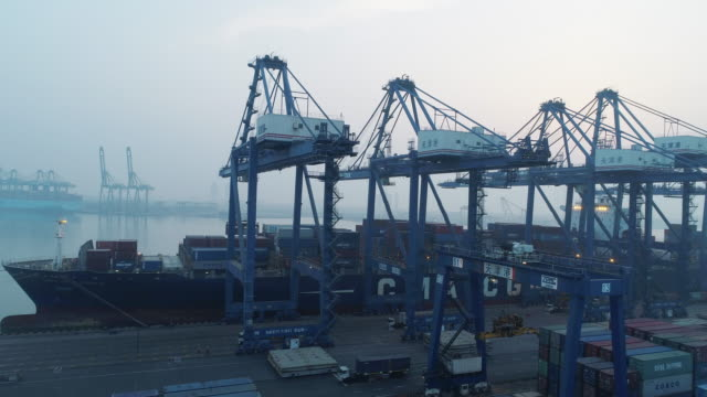 aerial view of port - tianjin stock videos and b-roll footage