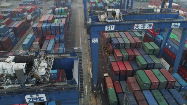 aerial view of port - tianjin stock videos & royalty-free footage