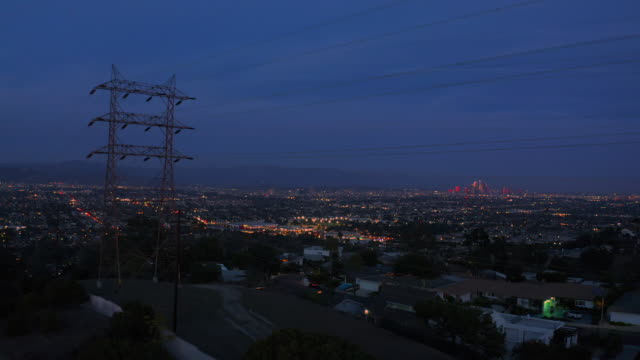 aerial view of power lines los angeles - western usa stock videos & royalty-free footage