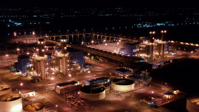 aerial view of power plant at night - grey colour stock videos & royalty-free footage