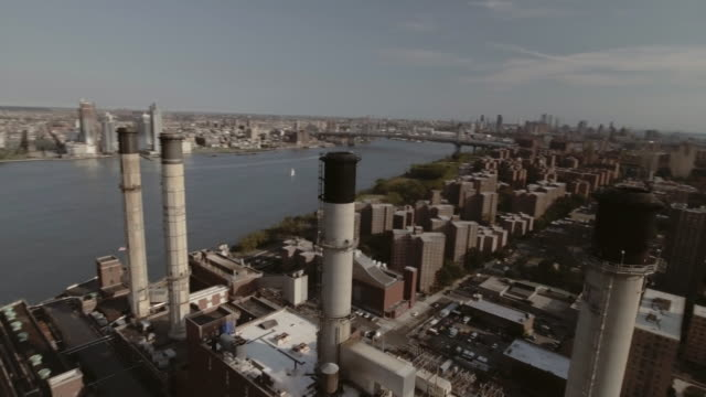 aerial view of power plant in new york city - 固定された点の映像素材/bロール