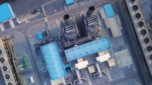 aerial view of power plant - fast motion stock videos & royalty-free footage