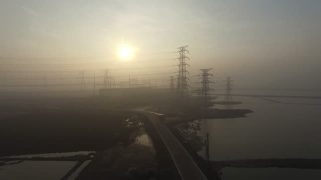 Aerial view of power station in smog on Jan 06 2017 at Tianjin China