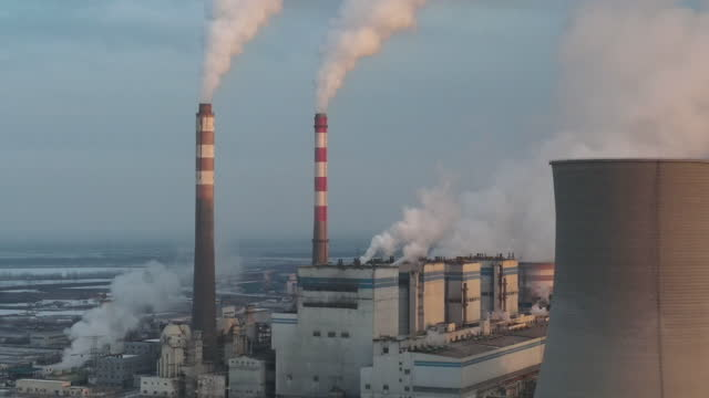 aerial view of power station - coal stock videos & royalty-free footage