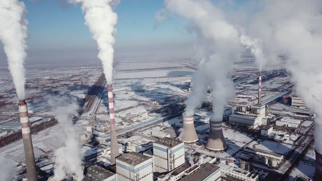 aerial view of power station - refinery stock videos & royalty-free footage
