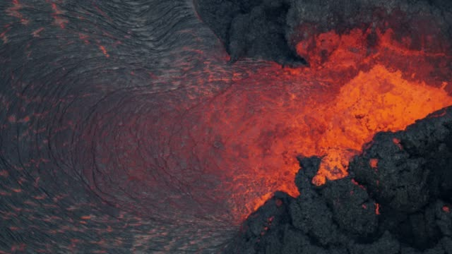aerial view of powerful volcano red hot magma - lava stock videos & royalty-free footage