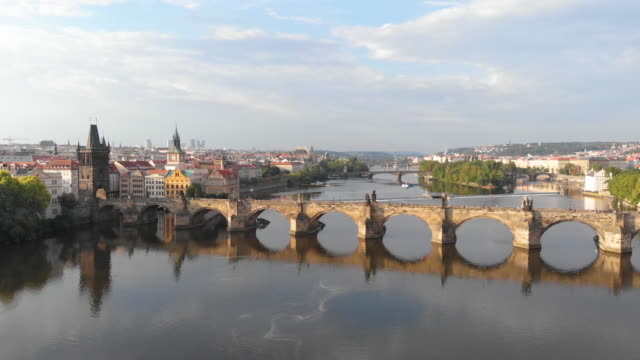 aerial view of prague at twilight with vltava river - traditionally czech stock videos & royalty-free footage