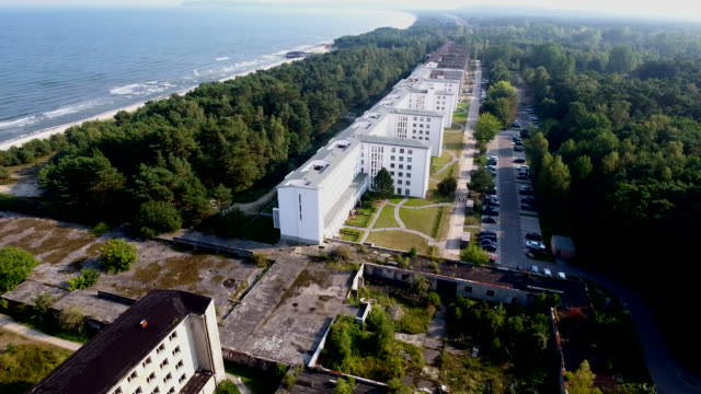 aerial view of prora - holiday camp stock videos & royalty-free footage