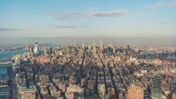 T/L Aerial View of Prosperous Cityscape of Manhattan / NYC