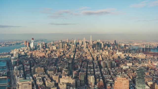 t/l aerial view of prosperous cityscape of manhattan / nyc - skyline stock videos & royalty-free footage
