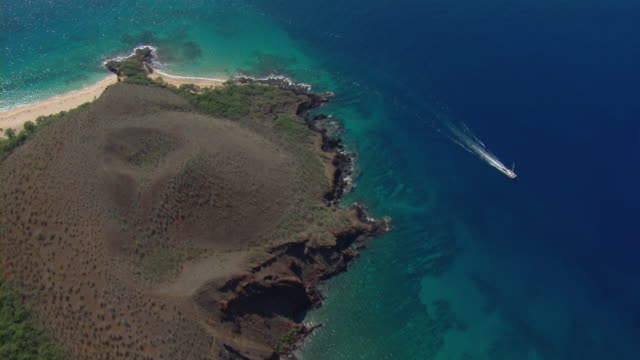 Aerial view of Pu_u Olai cinder cone and Little Beach in Makena State Park on the Hawaiian Island of Maui.