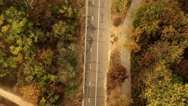 自転車道のある公共公園の空中写真 - サイクリングロード点の映像素材/bロール