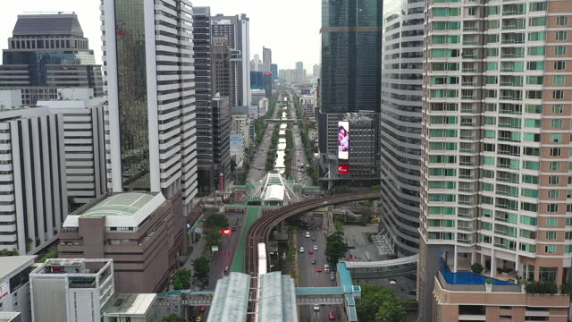 aerial view of public transportation in bangkok - thailand stock videos & royalty-free footage