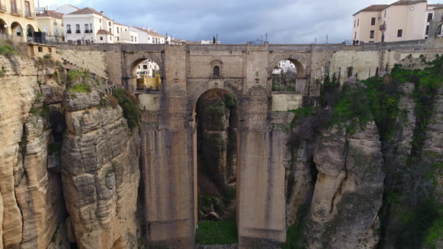 aerial view of puente nuevo bridge, ronda in spain - spain stock videos & royalty-free footage
