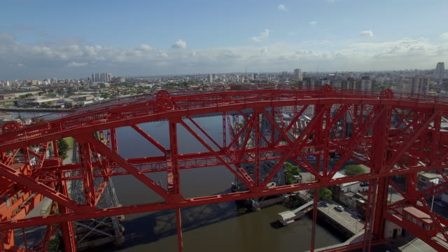 aerial view of puente transbordador nicolas avellaneda bridge in buenos aires - puente stock videos & royalty-free footage