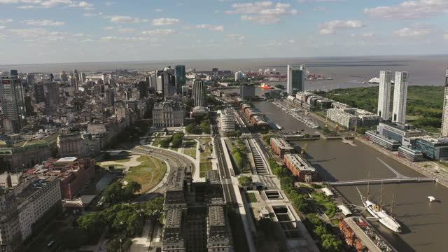 aerial view of puerto madero buenos aires city center argentina - puerto madero stock videos & royalty-free footage