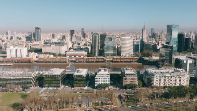 aerial view of puerto madero buenos aires - puerto madero stock videos & royalty-free footage