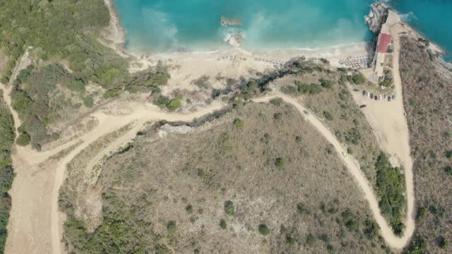 aerial view of pulëbardha beach in albania - albania stock videos & royalty-free footage