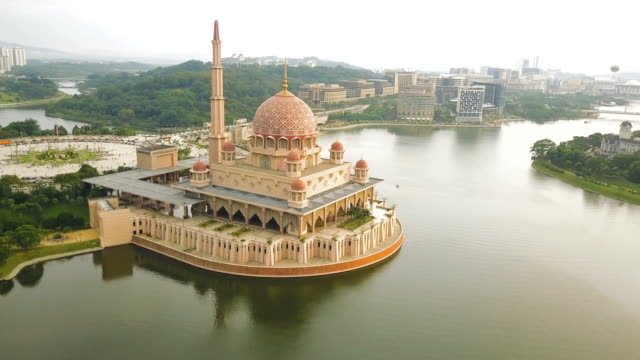 Aerial View of Putra Mosque in Kuala Lumpur,  a planned city and the federal administrative centre of Malaysia