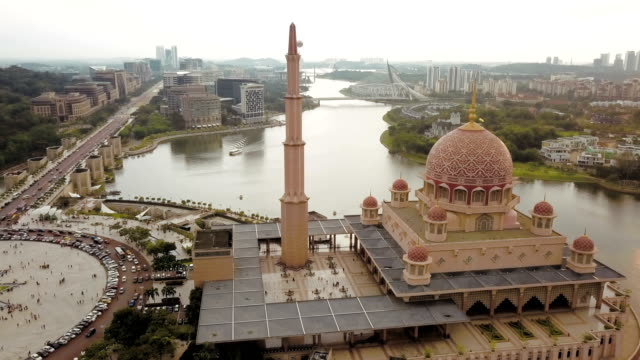 Aerial View of Putra Mosque in Kuala Lumpur, Malaysia, officially the Federal Territory