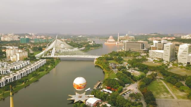 aerial view of putrajaya bridge, the federal territory of putrajaya, malaysia - putrajaya stock videos & royalty-free footage