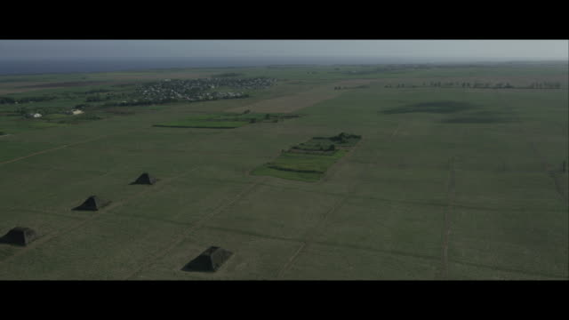 Aerial View of Pyramids and Sugar Cane Fields, Mauritius