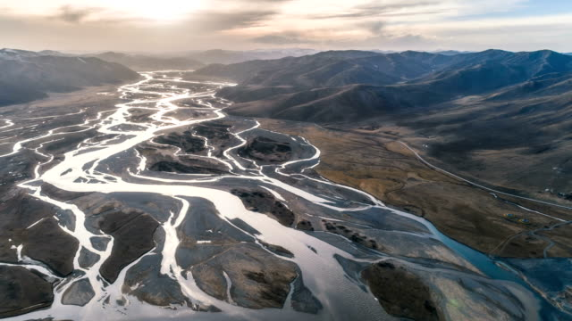 aerial view of qinghai - time lapse - tibetan plateau stock videos & royalty-free footage