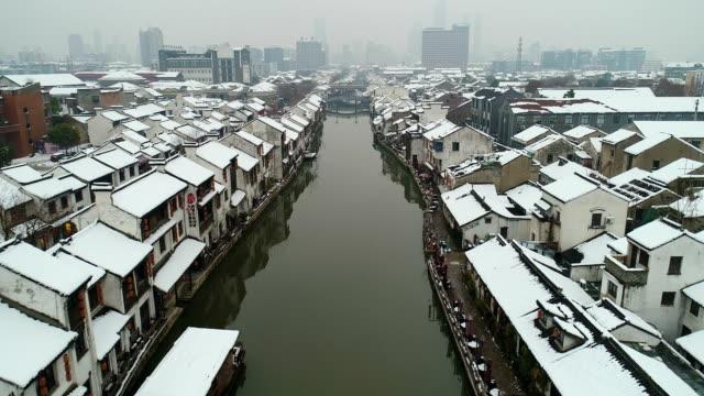 Aerial view of  Qingming bridge ancient canal snow scene
