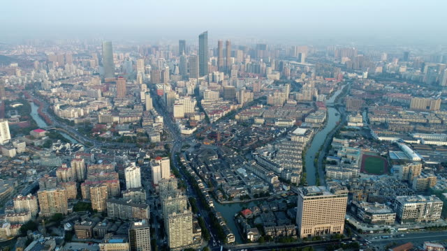 vídeos de stock, filmes e b-roll de aerial view of qingmingqiao ancient canal scenic area - water form