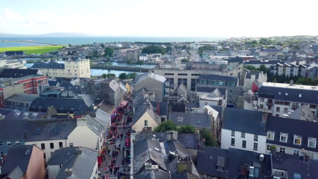 aerial view of quay street, loaded with stores, pubs and restaurants/ galway city - ireland stock videos & royalty-free footage