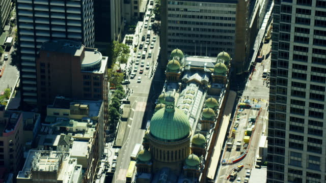 aerial view of queen victoria building downtown sydney - ニューサウスウェールズ州点の映像素材/bロール