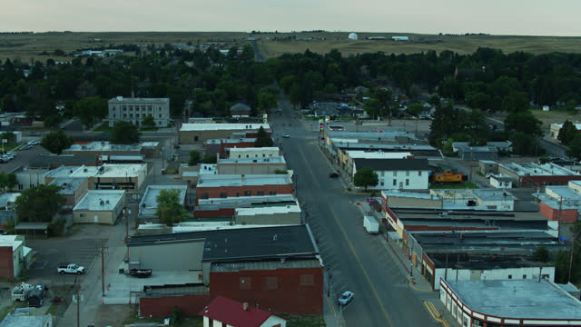 aerial view of quiet streets in small town in nebraska - midwest usa stock videos & royalty-free footage