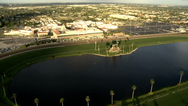 aerial view of race tracks - horseracing track stock videos and b-roll footage