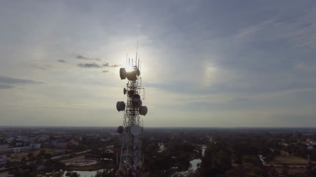 Aerial view of radio telecommunication over city