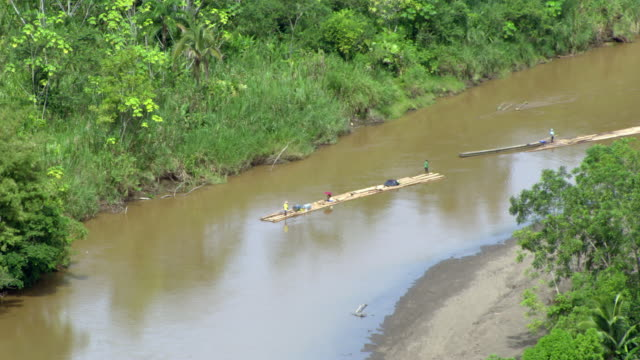 aerial view of rafts moving in river, colombia - medellin colombia stock videos & royalty-free footage