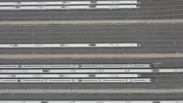 aerial view of railroad tracks - liyao xie stock videos & royalty-free footage