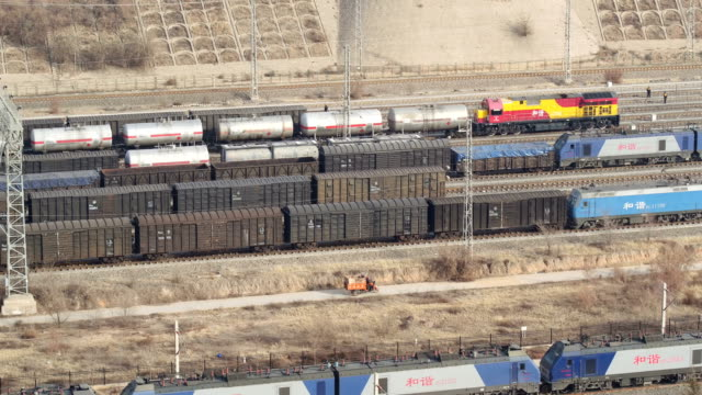 aerial view of railway shunting yard in lanzhou, china - shunting yard stock videos and b-roll footage