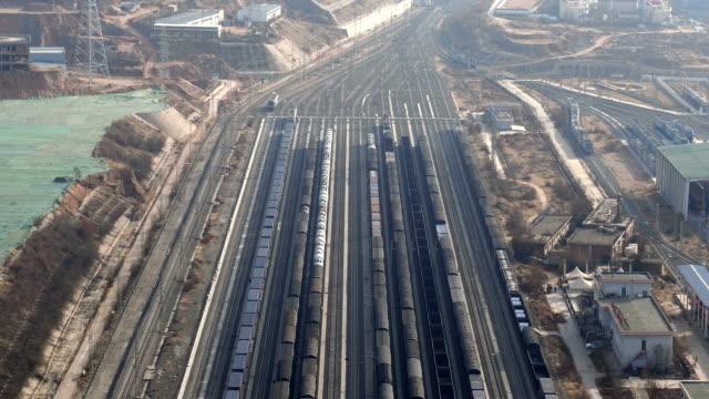 aerial view of railway shunting yard in lanzhou, china - 操車場点の映像素材/bロール