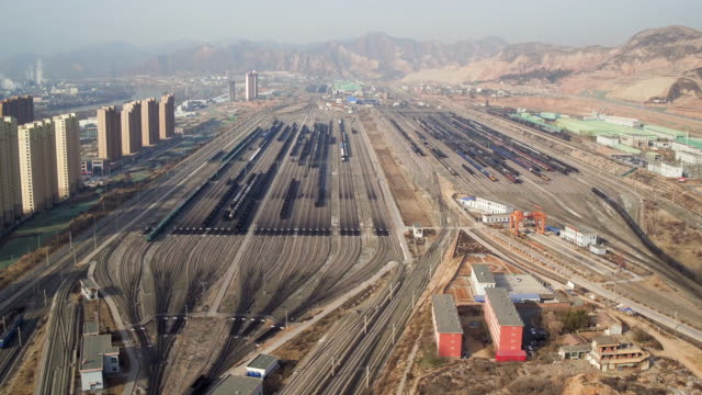 aerial view of railway shunting yard in lanzhou, china - cargo train stock videos & royalty-free footage