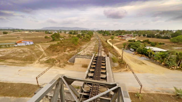 aerial view of railways bridge landscape - multicopter stock videos & royalty-free footage