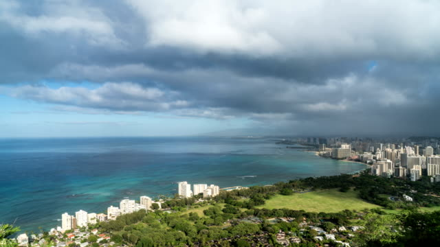 aerial view of rainbow above waikiki beach, diamond head. - oahu stock videos and b-roll footage