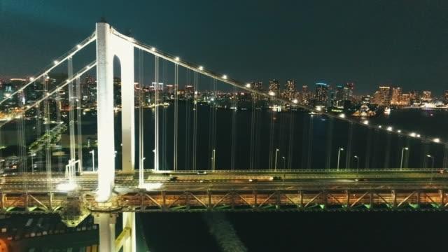 aerial view of rainbow bridge at night - 橋点の映像素材/bロール